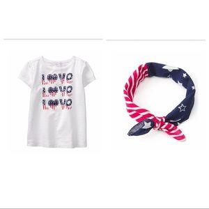 Nwt Gymboree girls freedom shirt and flag scarf